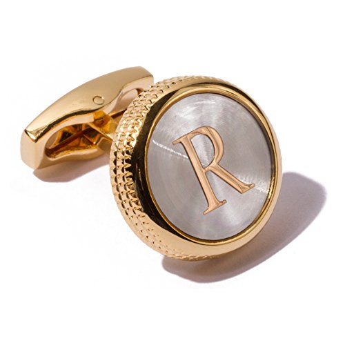HJ Men's 2PCS Fashion Dazzle Tuxedo Shirts Platinum Plated Cufflinks Initial Letter 2 Color A-Z (Gold - R And R Gold