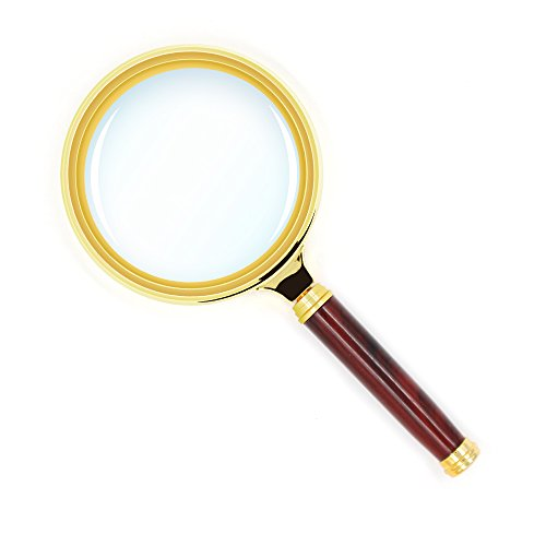 Kadaon 10X Handheld Magnifier Antique Mahogany Handle Magnifier Reading Magnifying Glass for Reading Book, Inspection, Coins, Insects, Rocks, Map, Crossword Puzzle -