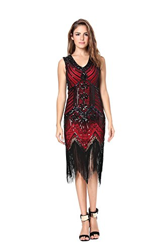 Womens 1920s Sequin Dress Gatsby Art Deco/ Cocktail / Flapper Party Dresses with Fringed (Sequin 1920s Dress)