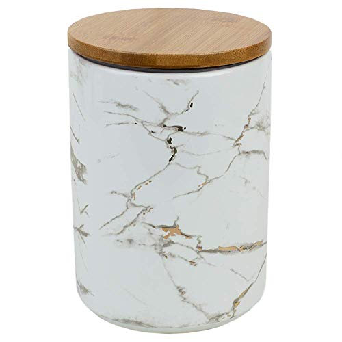 (Home Basics Marble Ceramic Kitchen Food Storage Canister with Bamboo Lid (White, Large) with Airtight Seal for Sugar, Coffee, Salt, Herbs, Spices-Use as Crock, Stationary Holder or Flower)