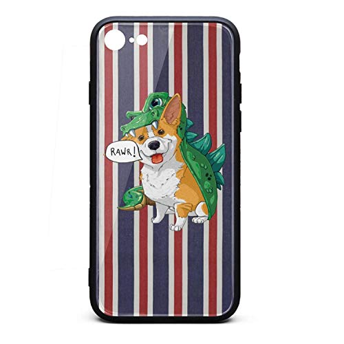 Phonerebey 7/8 Case,Corgi Dinosaur Dragon Costume Halloween Anti-Scratch Shockproof Slim Cover Case Compatible with Apple 7/8 Case,TPU and Tempered Glass ()