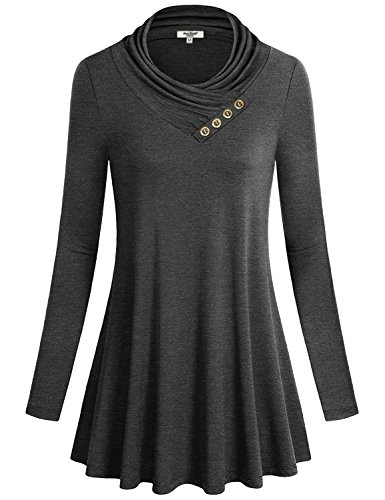 Anna Smith Womens Blouse Tops, Ladies Shawl Neck Turn Down Collar Long Tops Dressy Chic Stylish Slim Fit Knitted Pleated Outfit Tee Shirts Tunics to Wear with Leggings Grey L