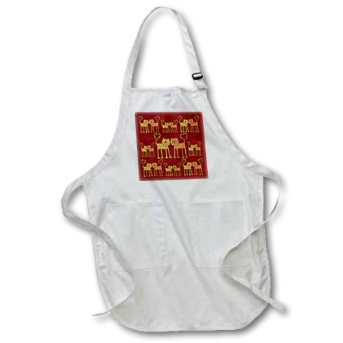 3dRose apr_76755_2 Valentine Cartoon Cat Pattern with Grain Texture-Medium Length Apron with Pouch Pockets, 22 by 24-Inch