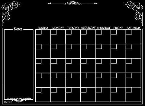 Calendar | Magnetic Chalkboard Style Refrigerator Calendar | Monthly Organizer | Dry Erase Board | Large Calendar | Kitchen Organizer | Smooth Black Surface | Waterproof | 11 x 15 - Hooters Calendar