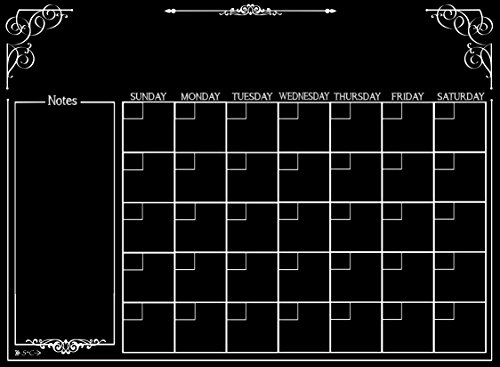 Calendar | Magnetic Chalkboard Style Refrigerator Calendar | Monthly Organizer | Dry Erase Board | Large Calendar | Kitchen Organizer | Smooth Black Surface | Waterproof | 11 x 15 -