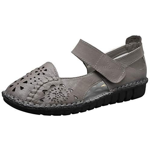 Mordenmiss Women's Hollow Out Sandals Vintage Hook Loop Handmade Mary Jane Flat Carving Moccasins Gray US -