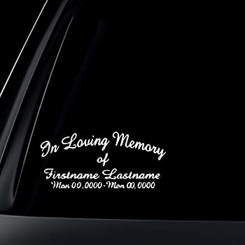 Custom in loving memory car decal sticker