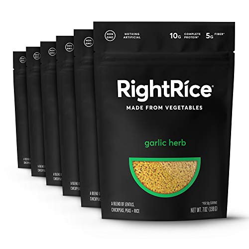 RightRice Garlic Herb. Rice Made from Vegetables. 7oz - Pack of 6