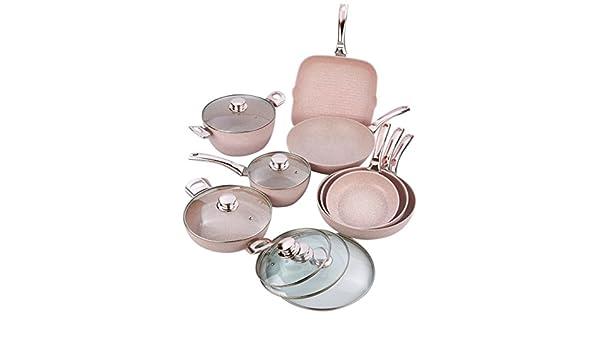 Bisetti BT-28861 - Batería de cocina (gres), color rosa: Amazon.es: Hogar