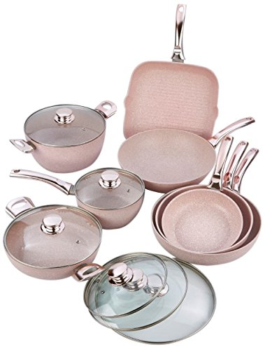 Bisetti BT-28861 Stonerose Cookware Set, Large, Pink by bisetti