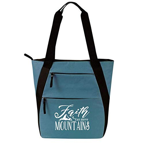 Religious Zippered Tote Bag for Women - Christian Church Gifts (Faith Move Mountains - Gift Tote Day