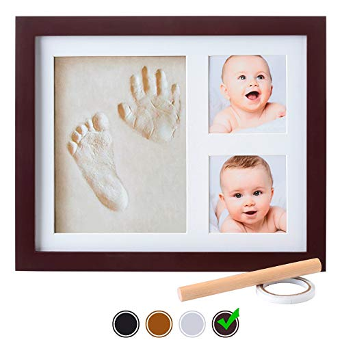 Newborn Impressions Kit - Baby Handprint Kit by Little Hippo |NO MOLD| Baby Picture Frame & Non Toxic CLAY! Baby Footprint kit, Perfect for Baby Boy gifts, and Baby Girls Gifts! (Espresso, Standard)