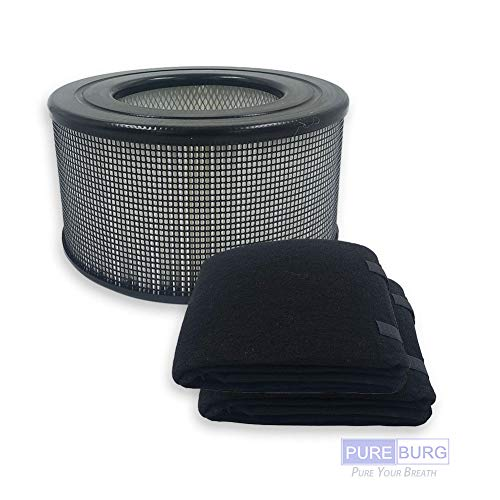 Pureburg Replacement HEPA Filter Set and 2 Wrapping Carbon Pre-Filters for Honeywell 20500 fits 10500 1500 17000 17000S 17005 17006 17007 17008 17009 E205 EV-10 Kenmore 83170 83180
