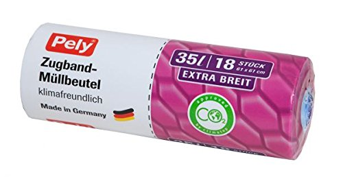 306 Stü ck Pely Mü llbeutel klimafreundlich Anti-Geruch mit Zugband fü r 35 Liter, Extra breit 61cm. 1 Karton mit 17 Rollen. Jede Rolle hat 18 pely Zugbandbeutel W. Pelz GmbH & Co. KG