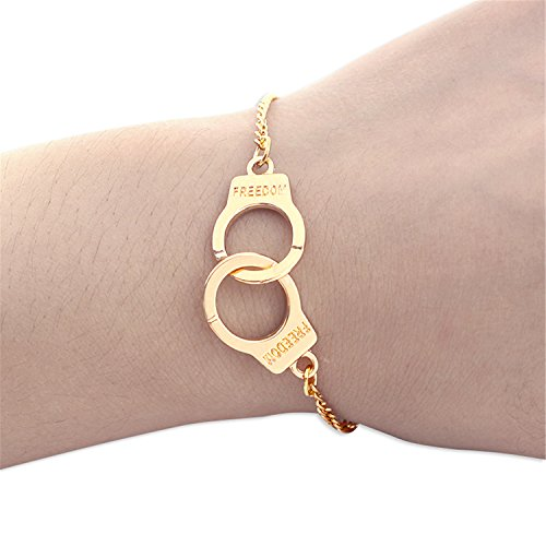 Aworth Trendy Handcuffs Bracelets For Women Carved FREEDOM Couples Lock Bangles Fashion Jewelry Lover Valentines Day Gifts -