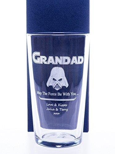 Cardboard Gift Box Engraved//Personalised *Star Wars Darth Vader Design* New Pint Glass Gift Boxed