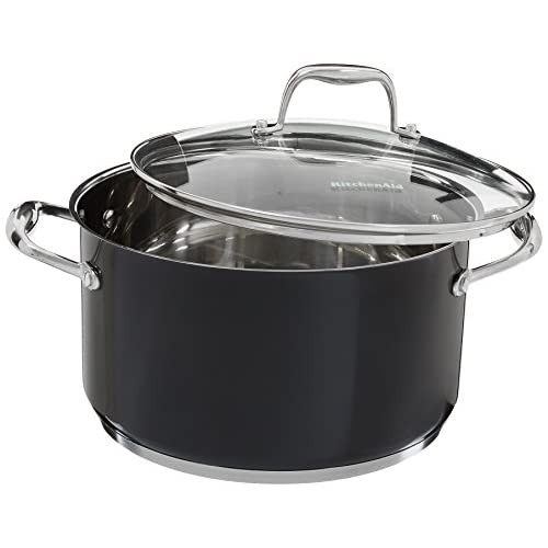 KitchenAid KCS60LCOB Stainless Steel 6.0-Quart Low Casserole with Lid Cookware - Onyx Black