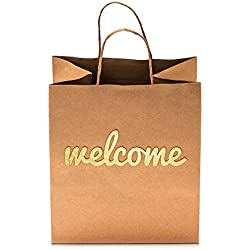 "Wedding Welcome Gift Bags - Elegant Gold Print on Both Sides - Super Cute High Quality Bags Perfect for Your Bridesmaids and Party Guests by Merry Expressions [25 Pack, Size 10.5"" x 8.25""]"