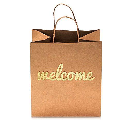 Merry Expressions - Wedding Welcome Gift Bags - Luxurious 25 Pack with Premium Gold Welcome Printed on Both Sides - Super Cute High Quality Bags Perfect for Your Bridesmaids and Party Guests by Merry Expressions