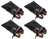 "Travel Shoe Bags 21.5""x 15.5"" W/ Locking Drawstring And Center Divider. (black) -set Of 4 Soft Nylon Shoe Bag. Woman And Men   amazon.com"