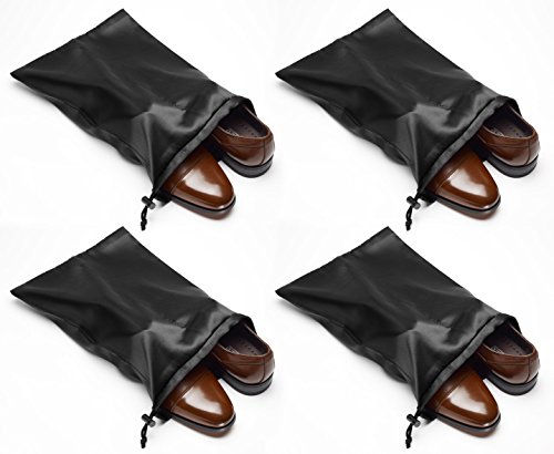 travel-shoe-bags-16x12-with-locking-drawstring-and-center-divider-black-4-pack-satin-nylon-shoe-tote
