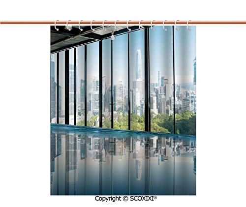 SCOXIXI Shower Curtain,Water Resistant,Metropolitan Cityscape of New York USA in Central Park Forest Photo,W72XL72 Inches