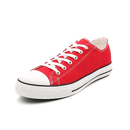 Women Classic Canvas Shoes Casual Low Top Lace Up Fashion Comfortable Walking Sneakers (6.5, Red)