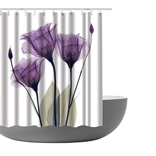 Amagical Lotus Decor Shower Curtain Lotus Flower Pattern Decorative Design Fabric Bathroom Decor Set with Hooks 72 x 72 in (Purple)
