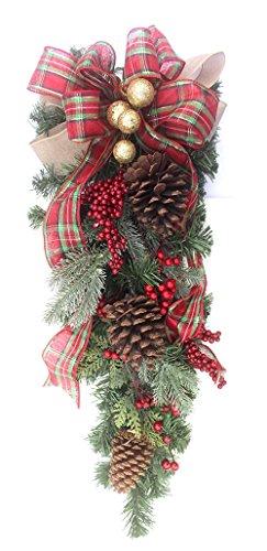Premium Christmas teardrop plaid swag for front door rustic berries 27 inch
