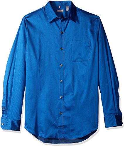 (Van Heusen Men's Traveler Stretch Non Iron Long Sleeve Button Down Shirt, Blue/Black Iris, X-Large)