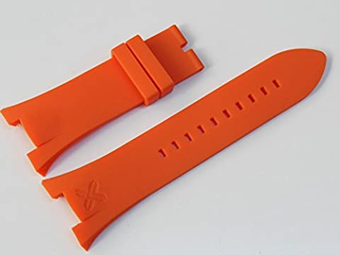 Orange Rubber Diver Watch Strap Band For Ar. Exchange (Watchband Armani Exchange)
