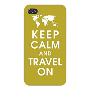 Apple Iphone Custom Case 5c White Plastic Snap on - Keep Calm and Travel On w/ World Continent Map