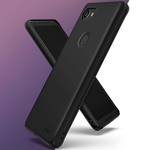 Funda Google Pixel 2 XL Ringke [SLIM] Ajuste en el Mango Ultra-Delgada de Fluido Borde Curvado la Piel Funda de la Caja Protectora Lightweigt de Revestimiento Dura de la PC - Blanco White Black