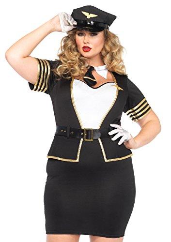 Leg Avenue Women's Plus-Size 4 Piece Mile High Pilot Costume, Blue/White, (Plus Size Pilot Costumes)