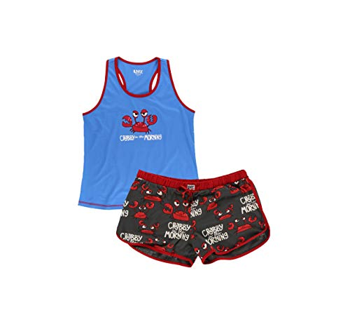 Lazy One Women's Cute Casual Fit Print Cotton Pajama Tank and Short Set (Crabby in The Morning, X-Small)