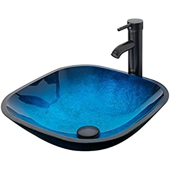glass bowl sink leaking installation vessel exploded ocean blue square bathroom artistic tempered combo oil rubber bronze faucet pop drain