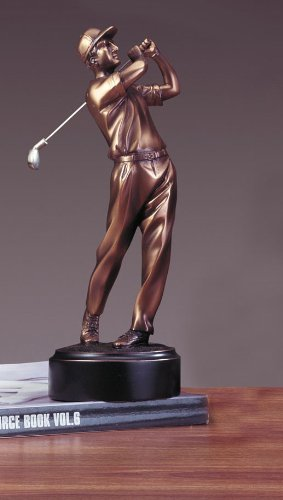 (Golfer Bronze Plated Golf Statue Sculpture Figure)