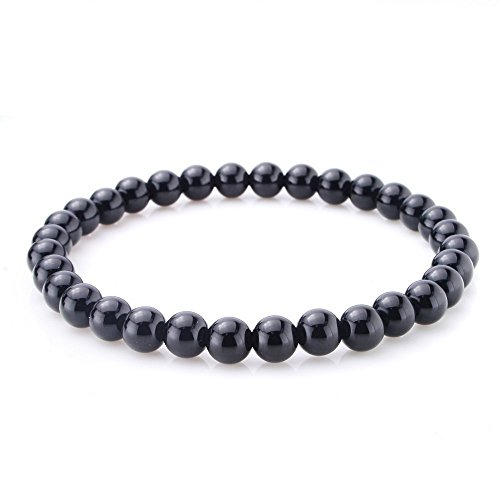 jennysun2010 Handmade Natural Black Onyx Gemstone Smooth Round Loose Beads 6mm Stretchy Bracelet Healing  7'' Inches Wrist ( 30pcs Beads in The Bracelet )