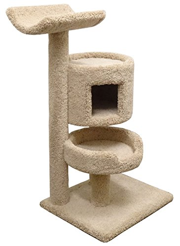 Carpet Cat Furniture Condo 45 inch Kitty Tower Large Bed & Cradle in Beige