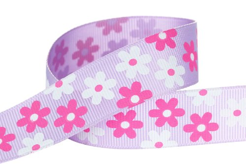 Hip Girl Boutique Flower Printed Grosgrain Ribbon For for Hair Bows, Floral Designs, Gift Wrapping, Sewing and More (5yd 7/8