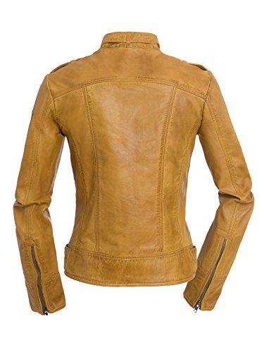 Valery Magnifica Color Chaqueta marrón Cuero de Elegante Mujeres qfSxfzA