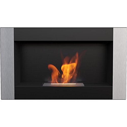 Domadeco Georgia Black VERTICAL wall mounted bioethanol fireplace silver sunnydaze modern style fireplace (Wall Contemporary Gel Mount Silver)