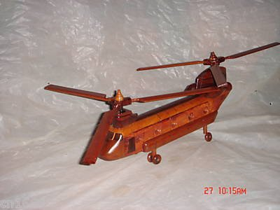 Chinook Hand Craft Wooden Model Helicopter Require Couple Simple Assembly