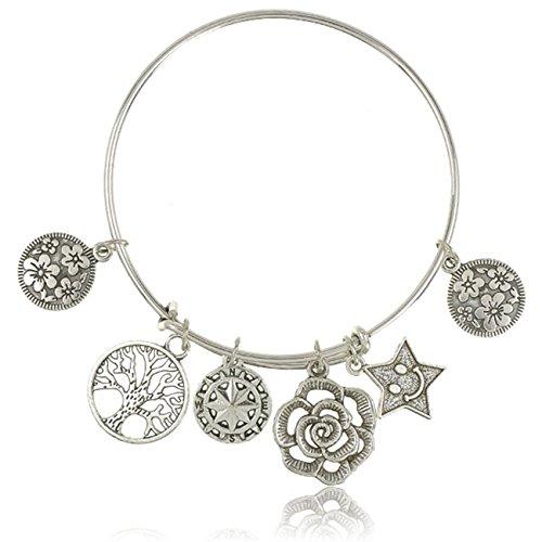Rurah Charm Bracelet Star Flower Tree of Life Bangle Bracelet Expandable Bangle Bracelet Anniversary Gift for Women
