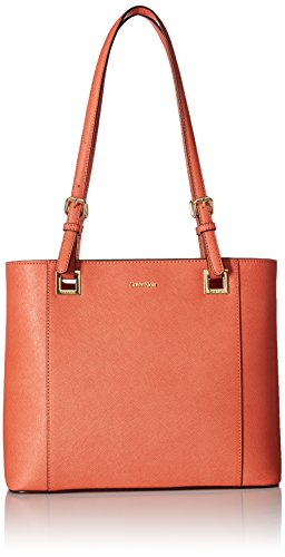 Calvin Klein Top Zip Saffiano Leather North/South Tote, Deep Apricot