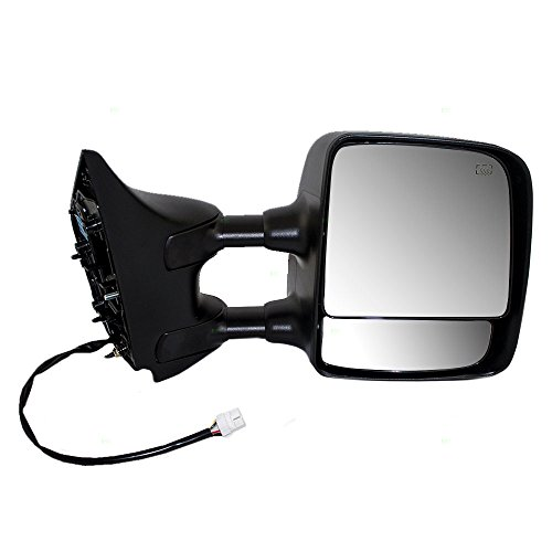 Passengers Power Tow Side Mirror Heated Chrome Telescopic Dual Arms Replacement for Nissan Pickup Truck 96301ZR10E