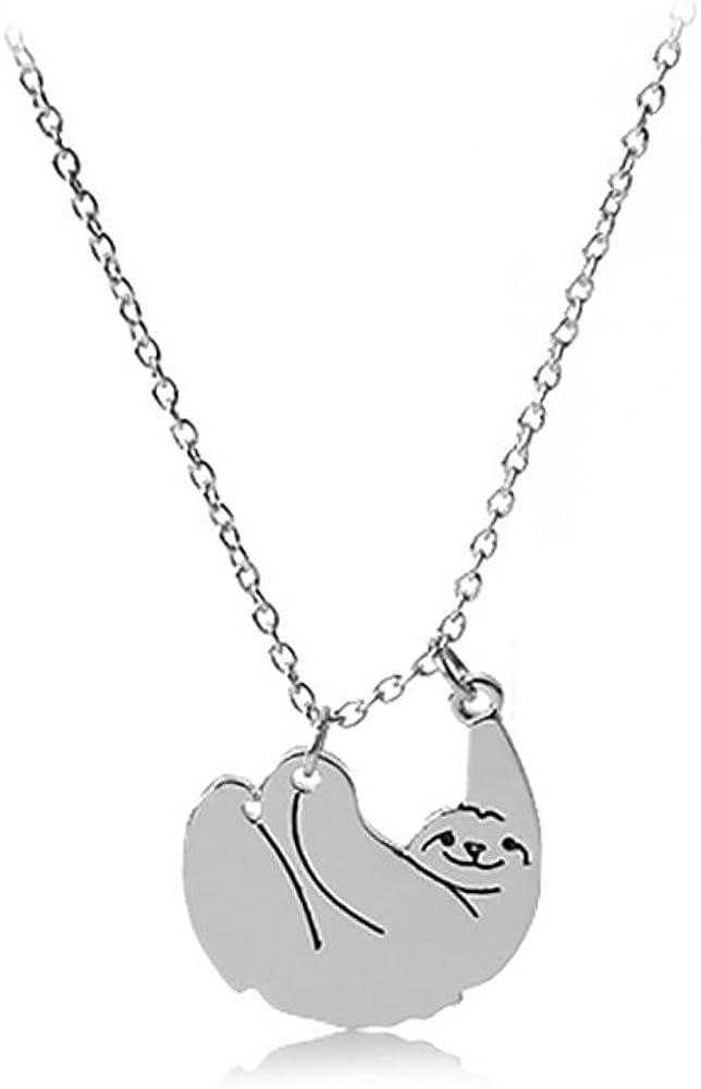 Meiligo Fashion Woman Dainty Sloth Charm Necklace Inspired Animal Pendant