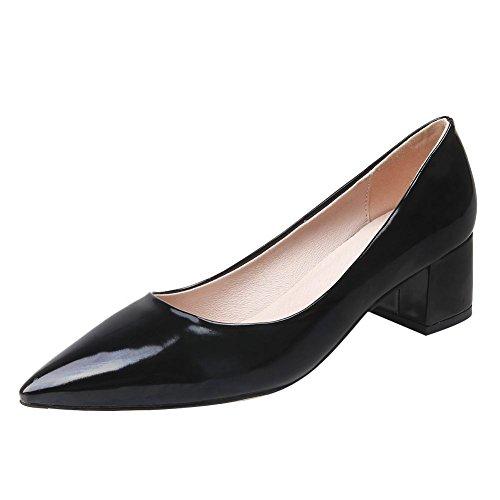Mee spitz Pumps Damen Geschlossen Shoes Schwarz heels chunky xwYYqATI