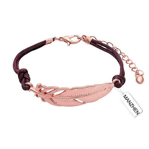 MANZHEN Simple Adjustable Feather Leaf Leather Cord Bracelet Bangle for Girls (rose gold) - Leather Rose Bracelet