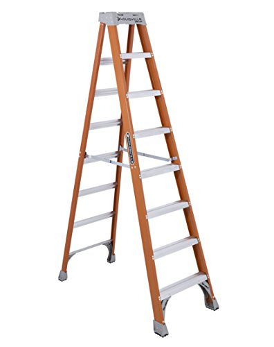 Wide Back Braces Non Conductive 8 foot Fiberglass Industrial Step Ladder by Louisville Ladder
